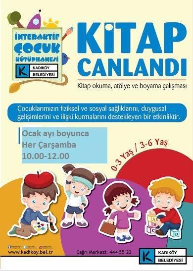 Kadıköy Interaktif çocuk Kütüphanesinde Kitap Okuma Atölye Boyama